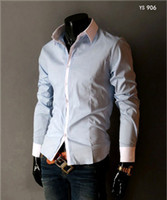 Wholesale Men s cotton long Sleeve Shirt Casual Shirt Dress Shirts Brand shirt gt