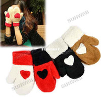 Wholesale 6pairs winter warm lovely peach heart love knitted wool gloves Full mittens gloves