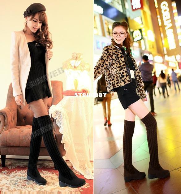 Women's Girls Casual Over The Knee Boots High Medium Heel Knitting ...