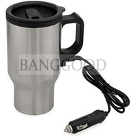 Wholesale Black Silver Electric Heated Heating Stainless Steel Car Adapter Coffee Cup Mug