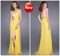 beaded bustiers - Sexy Front Slit Yellow Prom Dresses Chiffon Sweetheart Ruched Bustier Sweep Train Beaded Sequins Hot