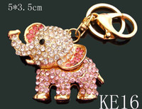 Wholesale Unisex hot sell Zinc alloy rhinestone The elephant Key chain fashion Keychains key ring mixed color KE16