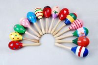 Wholesale Colorful Wooden Maraca Wood Rattles Kids Musical Party Favor Hot Baby Child Shaker Toy Months Big size Fashion