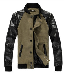 Wholesale New casual men s jacket slim fit leather sleeve outdoor coat contrast L XL Free Ship