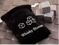 Wholesale whiskey Stone set with a velvet bag whiskey rock stone cube stone