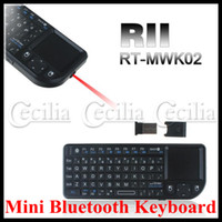 Wholesale RII RT MWK02 wireless touch pad keyboard mouse laser pointer for iPad iphone PC MAC PS3