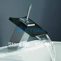 Single Handle Single Hole Basin Faucets Retail Wholesale Bathroom Vanity Sink Kitchen Square Waterfall Glass Faucet Mixer Tap 2573