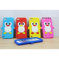 Wholesale Stereo Penguin silicon skin cover for iPod touch5 shockproof cute D MP4 soft back case DHL PC