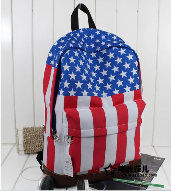 New Cool Fashion School Bag Retro Style Canvas USA Flag Style BackPack ...