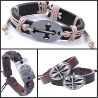 Wholesale The Cheap Leather Bracelets For Men Peace Sign Cross Bracelet Designs Mix
