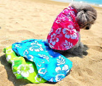 Wholesale Hawaii Style Shirt Pet Lovers Dog Clothes Summer Apparel Clothing Beach T Shirts blue green red