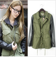 Woman Military Army Green Contrasting Black PU Faux Leather Sleeved Coat Jacket