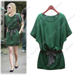 Wholesale 2013 New Women s Lady Fashion Batwing Dolman Short Sleeve Casual Cotton Mini Dress Green