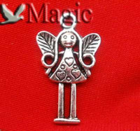 Wholesale Silver Tone Heart Love Angel Charms Pendant Beads Jewelry Making Findings x14mm