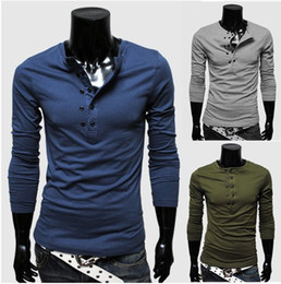 Wholesale 2013 men s long sleeve T shirt double breasted Design solid color colors retail amp T25