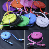 Wholesale 2M M FT FT Flat Colorful Noodle USB Data Charging Cable pin Cord Adapter for Iphone5 iphone