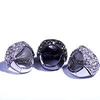 Wholesale Freeship Fashion style Big dome ring Adjustable Size open ring Clear rhinestone wedding finger ring