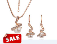 Women's pearl alloy earrings - Women K Golden Platinum alloy Pearl Necklace Earrings Set Jewelry set pendant charm necklaces hot