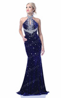 Reference Images Halter Velvet Formal Dresses Evening 2013 New Sexy Halter Rhinestones Velet Backless Purple Vintage Prom Gown 246