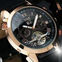 Prezzi Orologi jaragar-Prezzo più basso ! JARAGAR Rosa d'Oro multifunzionale di lusso di Tourbillon Automatico Uomini orologio meccanico orologi da polso uomo