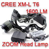 Wholesale 1600LM CREE XM L T6 LED Zoom Headlamp Headlight Adjustable Zoom Lamp x18650 Charger