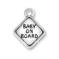 Charms   Free Shipping fashion 15pcs a lot antique silver baby on board charms(184513)