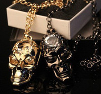Wholesale New Big Diamond Crystal Skull Skeleton Pendant Necklace Sweater Chain SY1