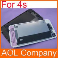 Nueva marca de alta calidad de cristal trasera de la cubierta de batería trasera de la cubierta para 4 4G 4S Negro Color Blanco