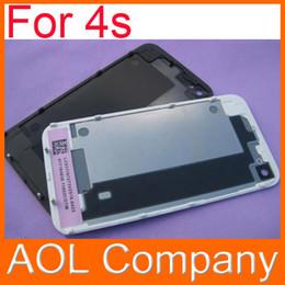 Iphone vidrio de alta calidad en Línea-Nueva marca de alta calidad de cristal trasera de la cubierta de batería trasera de la cubierta para 4 4G 4S Negro Color Blanco