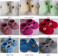 Crochet baby booties first walk shoes solid color cross loaf...