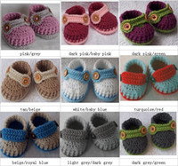 Crochet baby loafers first walk shoes assorted colors cross ...