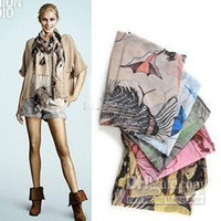 Wholesale New Fashion Begonia Flower ink Style Cotton Neck Scarf Shawl AA