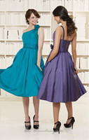 Wholesale Matching High Quality One Shoulder A line Tea Length Pleat Flower Charmeuse Bridesmaid Dresses
