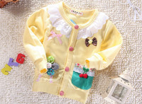 Wholesale spring autumn girl s clothes baby clothing kids clothes baby flower bow Sweaters girl coat