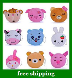 Wholesale Cartoon animal cotton wallet Children Mobile phone bag girls key coin case kids gifts