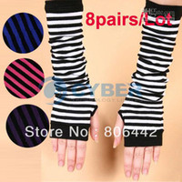 Wholesale Holiday Sale pairs New Women s Wrist Arm Warmers Mitten Knit Stripes Fingerless Long Gloves Fre