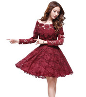 Wholesale Fall winter women s clothes ladies clothing fashion Casual dresses long sleeved Princess Slim fiber quality lace party dress28