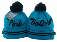 Wholesale Pink Dolphin Script Knit Beanie in Aqua Skull Caps Mens Womens Knitted Hats Fashion Stylish Hat Sale