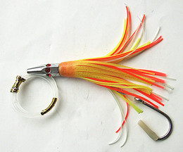 6.5inch Fishing Lure Octopus Skirt Bait Sea Trolling Lure Big Game Fishing Tackle Copper head with line hook