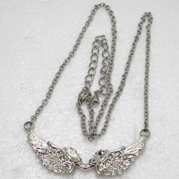 Ailes d'anges à vendre-Grossiste F141 Marquise Crystal Rhinestone Angel ailes Colliers Pendentifs Chaînes
