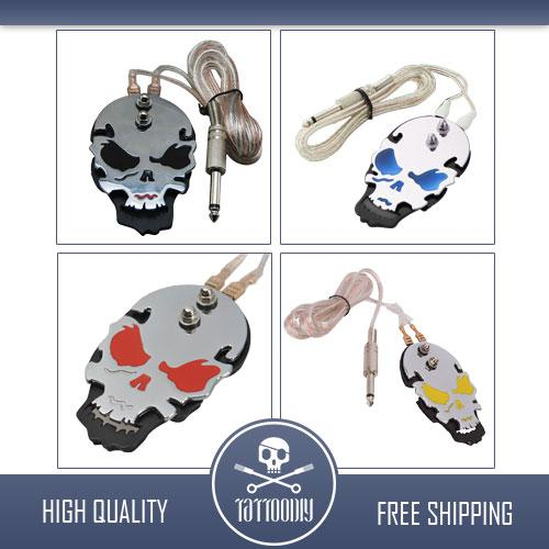 2 pcs PRO Chrome Acier inoxydable Skull Tattoo Flat Foot Pedal Switch Footswitch