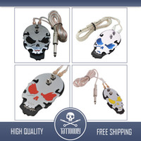 Wholesale PRO Chrome Stainless Steel Skull Tattoo Flat Foot Pedal Switch Footswitch WE006 color choice