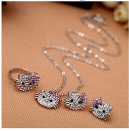 Fashion jewelry lovely cat crystal set ring earrings, necklaces, 3-piece set 120 lot EXpress Shipping free