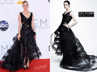Reference Images award ribbons - January Jones Sexy V Neck Hi Lo Tulle Celebrity Dresses at arrivals for th Primetime Emmy Awards