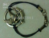 Wholesale Hotsale Vintage Bronze Leather String Hunger Games Inspired Mockingjay bracelet