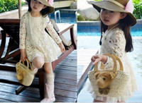 2T-3T Summer Long Sleeve girl flower creamy white skirt kid lace dress Korean Children Clothes 2013 Autumn baby dresses