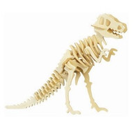 Wholesale Intelligence Toys Wood Model Kits with paints Child Wool puzzle toy combination puzzle Tyrannosaurus