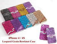 TPU For Apple iPhone  Soft TPU Leopard Grain Bowknot Case for iphone 4 4G 4S colorful leopard print cover smooth skin case