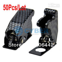 Wholesale 50Pcs Flip Up Toggle Switch Cover Protective Safety Carbon Fiber Case TK0298
