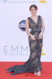 Wholesale julia louis dreyfus Black Lace V Neck Celebrity Dresses at arrivals for th Primetime Emmy Awards
